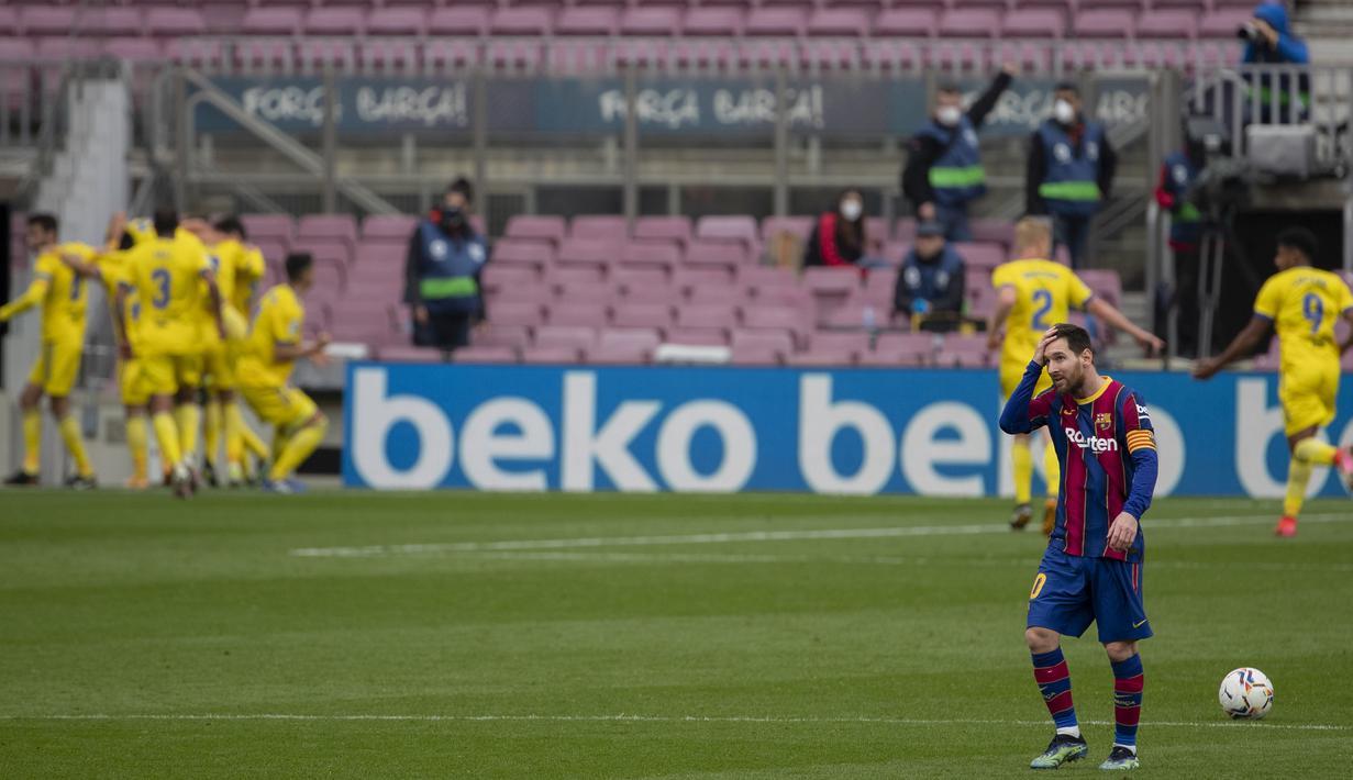 Gol Cadiz di menit-menit akhir pertandinga terasa menyesakkan karena Barcelona hampir unggul sepanjang pertandingan. (Foto: AP/Joan Monfort)