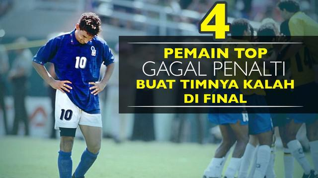 Video 4 pemain sepak bola top yang gagal penalti buat timnya kalah difinal, salah satunya Roberto Baggio pemain Italia saat melawan Brasil.