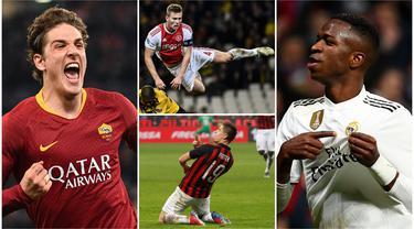 Berikut ini pesepakbola muda yang mampu mencuri perhatian dunia. Diantaranya, Nicolo Zaniolo, Vinicius Junior dan Frenkie de Jong. (Foto Kolase AP dan AFP)