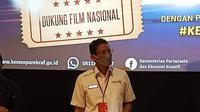 Menparekraf Sandiaga Uno hadiri jumpa pers kampanye Kembali ke Bioskop di Metropole XXI, Senin, 12 April 2021. (Liputan6.com/Dinny Mutiah)