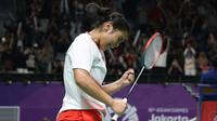 Gregoria Mariska Tunjung mengalahkan pemain Korea Selatan, Sun Ji-hyun, di Istora Senayan, Senin (20/8/2018). (PBSI)