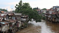 Suasana di bantaran Sungai Ciliwung, Manggarai, Jakarta (31/10). Kepala Bappenas Bambang Brodjonegoro mengatakan saat ini terdapat 13,5 juta penduduk Indonesia yang hidup miskin di lingkungan kumuh. (Liputan6.com/Immanuel Antonius)