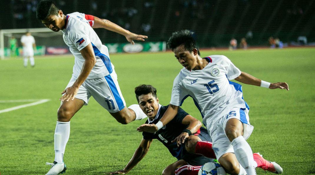Timnas Filipina U-22 saat bermain di Kualifikasi Piala AFC U-23 2018 di Kamboja. (Bola.com/Dok. PFF).