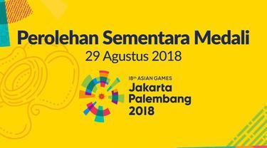Berikut perolehan terkini medali peserta Asian Games 2018, sampai dengan 29 Agustus 2018, pukul 17.30 wib.