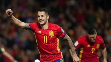 Tim nasional Spanyol berpesta empat gol atas Makedonia dalam laga lanjutan Grup G Kualifikasi Piala Dunia 2018 di Estadio Nuevo Los Carmenes, Sabtu (12/11/2016) waktu setempat. (AFP/Jorge Guerrero)
