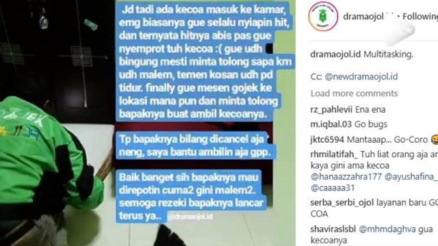Seorang wanita kaget bukan main saat di kamar kosnya ada kecoak. Tak hilang akal, ia pura-pura pesan ojek online untuk membantunya mengusir.