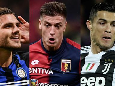 Ronaldo bersanding dengan Piatek sebagai pemuncak top scorer Serie A hingga pekan ke-14 dengan 10 gol, namun Ronaldo lebih unggul dalam produktifitas assist. (Kolase Foto AFP)