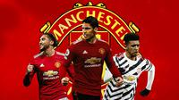 Manchester United - Dominic Calvert-Lewin, Raphael Varane, Jadon Sancho (Bola.com/Adreanus Titus)
