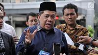 Wakil Ketua DPR RI Fahri Hamzah memberi keterangan usai memenuhi panggilan di Mapolda Metro Jaya, Jakarta, Senin (19/3). Fahri diperiksa sekira pukul 10.00 hingga 13.00. Ia mengaku dicecar 12 pertanyaan oleh penyidik. (Merdeka.com/Iqbal S. Nugroho)