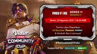 Jadwal dan Live Streaming Vidio Community Cup Season 11 Free Fire Series 11, Senin 23 Agustus 2021. (Sumber : dok. vidio.com)
