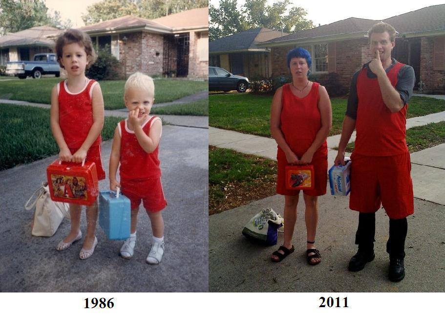 Reka ulang foto masa kecil kakak beradik. (Foto: huffingtonpost)