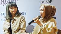 Co-Chairman Jakarta Halal Things Desy Bachir (kiri) dan Temi Sumarlin (kanan) saat konferensi pers di 11:11 Cafe Senayan City, Jakarta, 24 Oktober 2019. (Liputan6.com/Asnida Riani)