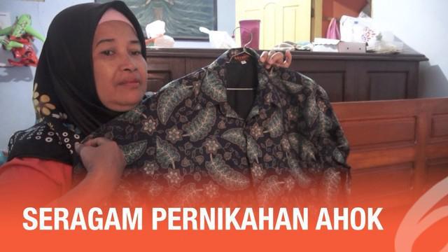 Keluarga di Nganjuk, Jawa Timur sudah dibagikan seragam untuk pernikahan Ahok dan Bripda Puput.