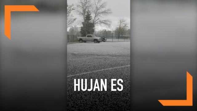 California Utara diguyur hujan es ekstrem. Butiran es menyebar di jalanan dan halaman rumah.