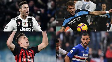 Tambahan satu gol Quagliarella saat melawan Atalanta membuat penyerang gaek Italia tersebut mengkudeta Ronaldo di puncak. Kini Quagliarella mencetak 20 gol selisih satu gol dengan Ronaldo dan Piatek. (Kolase Foto AFP)