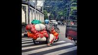 Emak-emak super naik motor. (Instagram @videodragbike)