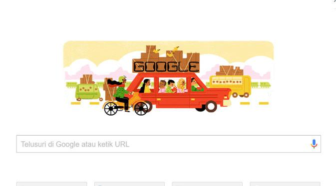 Tradisi Mudik Lebaran di Indonesia Jadi Google Doodle Hari Ini. (Doc: Google)