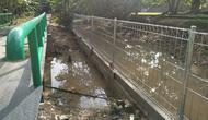 Pagar beton berdiri di sisi kiri Candi Kembar Batu, kompleks Percandian Muarajambi. Kehadiran pagar tersebut kini malah menghambat saluran drainase di sekeliling Candi Kembar Batu. (Liputan6.com/Dok Padmasana/Gresi Plasmanto)