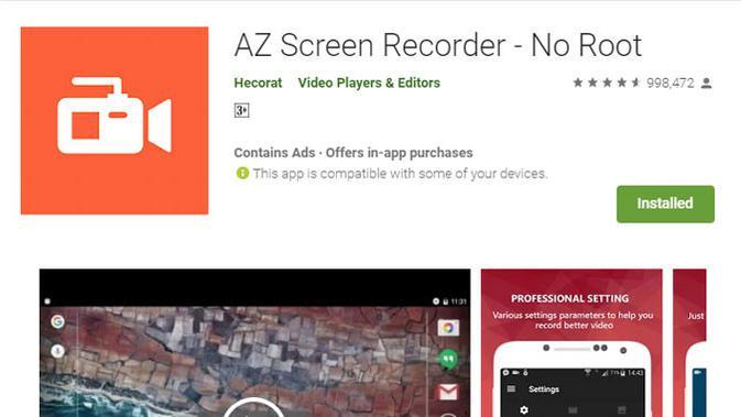 Tips merekam tampilan gambar di layar smartphone memakai AZ Screen Recorder. (Liputan6.com/ Yuslianson)