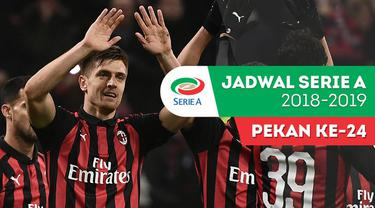 Berita video jadwal Serie A 2018-2019 pekan ke-24. AC Milan bertandang ke markas Atalanta, Inter Milan menjamu Sampdoria di Stadion Giuseppe Meazza, Milan.