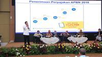 Para nara sumber pada seminar bertema 'Membangun Kesadaran Pajak' yang digelar di kantor Direktorat Jenderal Pajak (DJP) Kementerian Keuangan RI, Jakarta, Rabu (11/7/2018). (Dok DPR)