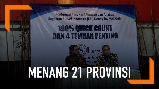 Menurut LSI Denny JA, dari 100 persen data versi quick count, Jokowi-Maruf memenangi Pilpres 2019 dengan perolehan dukungan sebesar 55,71 persen. Sementara Prabowo-Sandi memperoleh dukungan sebesar 44,29 persen.