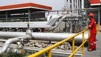 Seorang petugas mengecek kilang penimbum BBM di Terminal Bahan Bakar Minyak (TBBM) Plumpang Jakarta,(21/5). TBBM Plumpang merupakan distributor minyak satu-satunya yang meliputi kawasan Jabodetabek dan sukabumi. (Liputan6.com/Helmi Afandi)