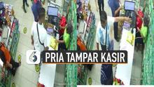 Sebuah rekaman CCTV viral di media sosial menunjukkan insiden penamparan di minimarket.
