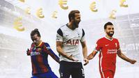 Ilustrasi - Euro dan Pounds, Antoine Griezmann, Harry Kane, Mohamed Salah (Bola.com/Adreanus Titus)