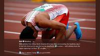 Lalu Muhammad Zohri sujud syukur atas kemenangan meraih emas di Kejuaran Dunia Atletik U-20, Tampere, Finlandia pada 11 Juli 2018. (Twitter International Association of Athletics Federations)