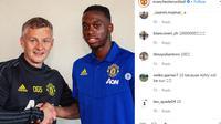 Manajer Manchester United (MU) Ole Gunnar Solskjaer dan Aaron Wan-Bissaka yang baru didatangkan dari Crystal Palace. (foto: instagram.com/manchesterunited)