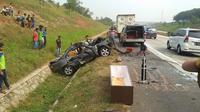 Kecelakaan maut di Tol Cipali. (Liputan6.com/Adramena)
