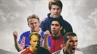 Ilustrasi - Zinedine Zidane, Dennis Bergkamp, Robert Prosinecki, Rui Costa, Michael Laudrup (Bola.com/Adreanus Titus)