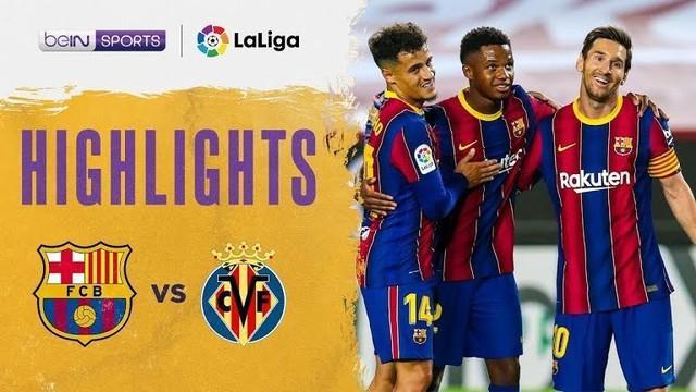 Berita video melihat kembali keganasan wonderkid Ansu Fati dalam highlights kemenangan Barcelona 4-0 atas Villarreal pada pekan ketiga Liga Spanyol 2020/2021 yang digelar Minggu (28/9/2020) dinihari WIB.