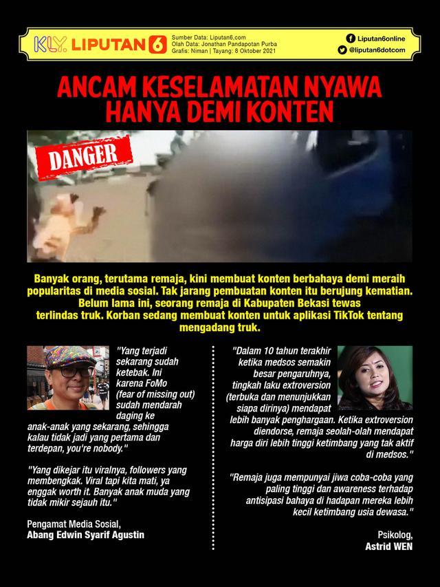 Infografis: Ancam Keselamatan Nyawa Hanya Demi Konten (Liputan6.com / Triyasni)