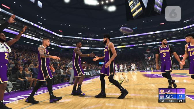 Tampilan grafis di NBA 2K20. (Liputan6.com/ Yuslianson)