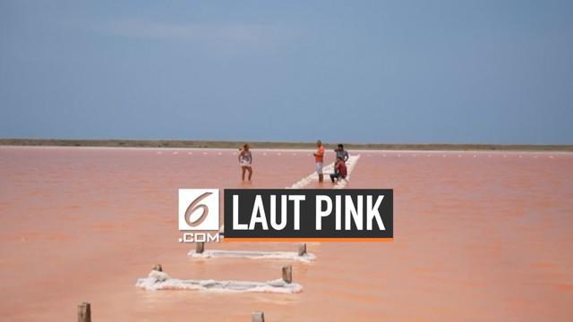 Fenomena alam terjadi di sebuah pantai di Kolombia. Air yang tadinya berwarna biru tiba-tiba berubah menjadi pink. Ternyata, ini penyebabnya.
