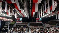 Anggota kepolisian dari berbagai kesatuan mengikuti upacara peringatan HUT ke-72 Bhayangkara di Istora Senayan, Jakarta, Rabu (11/7). Hari Bhayangkara diperingati sebagai hari lahirnya Kepolisian Negara Republik Indonesia.(Www.sulawesita.com)