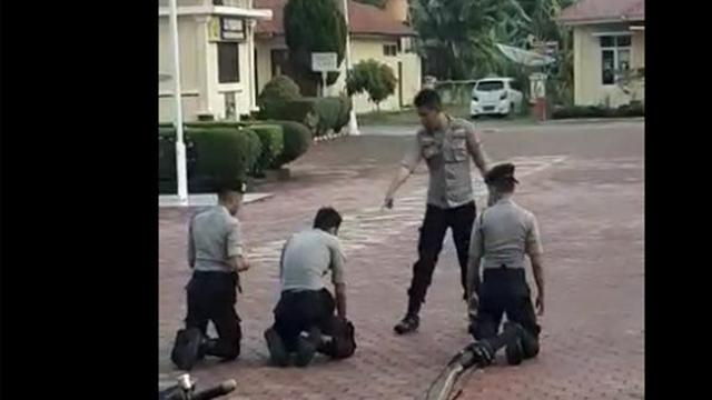 terlambat apel, viral poilisi aniyaya junior pakai ikat pinggang