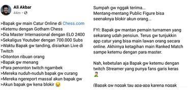 Unggahan tentang akun pemain Indonesia yang diblokir Chess.com