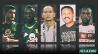 Trivia - Eduard Ivak Dalam, Robertino Pugliara, Makan Konate, Zah Rahan, Kurniawan Dwi Yulianto (Bola.com/Adreanus Titus)