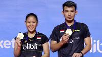Ganda campuran Indonesia, Rinov Rivaldy/Pitha Haningtyas Mentari, menjuarai Bangka Belitung Indonesia Masters 2018, Minggu (23/9/2018). (PBSI)