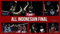 Kevin Sanjaya Sukamuljo/Marcus Fernaldi Gideon melawan Mohammad Ahsan/Hendra Setiawan pada final Indonesia Open 2019. (Foto-foto: Bola.com/Vitalis Yogi Trisna)