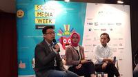 Ki-ka: Chairman Social Media Week Antonny Liem, Senior VP Bank BCA Norisa Saifuddin, Marketing & Promotion GM Senayan City Jaclyn Halim. Liputan6.com/Jeko Iqbal Reza