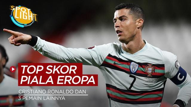 Berita video spotlight membahas tentang empat pencetak gol terbanyak sepanjang masa Piala Eropa, salah satunya ialah Cristiano Ronaldo.