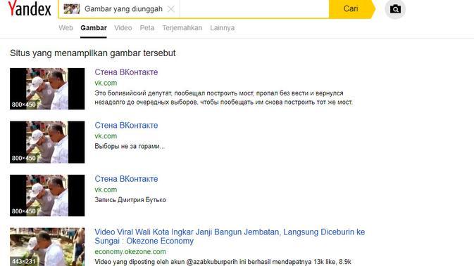 [Cek Fakta] Ingkar Janji Bangun Jembatan, Wali Kota Didorong ke Sungai, Faktanya? (Yandex)