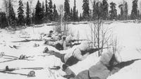 Pasukan patroli Finlandia berjaga-jaga atas kedatangan pasukan Rusia (Imperial War Museums)