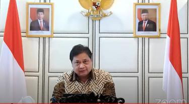 Menko Perekonomian Airlangga Hartarto saat konferensi pers evaluasi perpanjangan PPKM level.