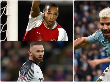 Sergio Aguero mampu membuktikan diri sebagai mesin gol Manchester City di Premier League. Pemain asal Argentina ini menjadi salah satu pencetak gol terbanyak sepanjang sejarah di Premier League. Berikut Aguero dan 5 top skor sepanjang masa di Premier League. (kolase foto AFP)
