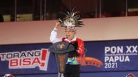 Wakil Presiden KH Ma'ruf Amin menyampaikan sambutan sekaligus menutup Pekan Olahraga Nasional (PON) XX Papua 2021 di Stadion Lukas Enembe, Jumat (15/10/2021) . (PB PON XX PAPUA/M Solihin)